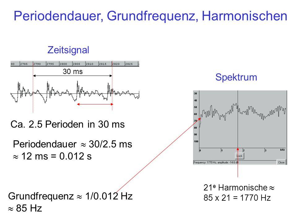 Periodendauer, Grundfrequenz, Harmonischen