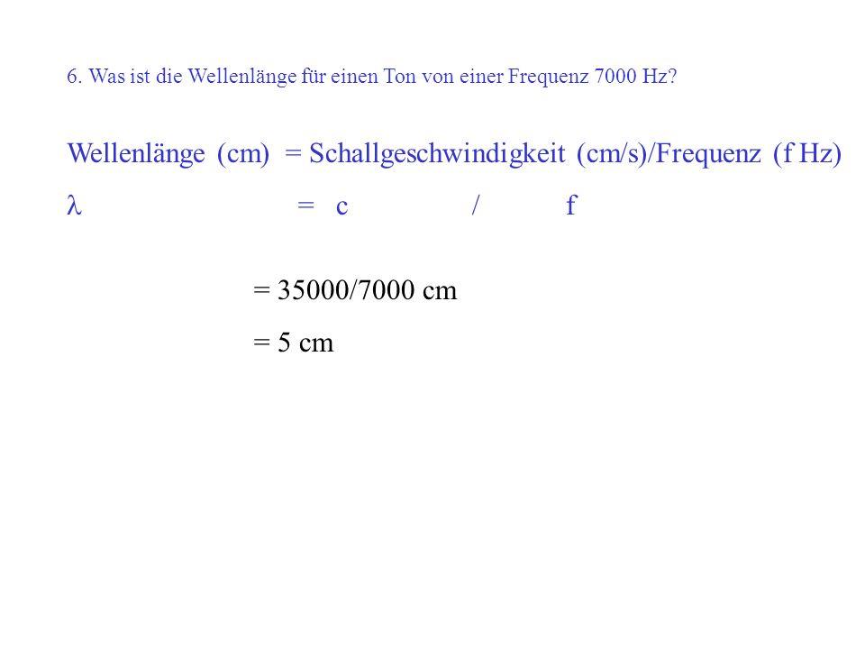 Wellenlänge (cm) = Schallgeschwindigkeit (cm/s)/Frequenz (f Hz)
