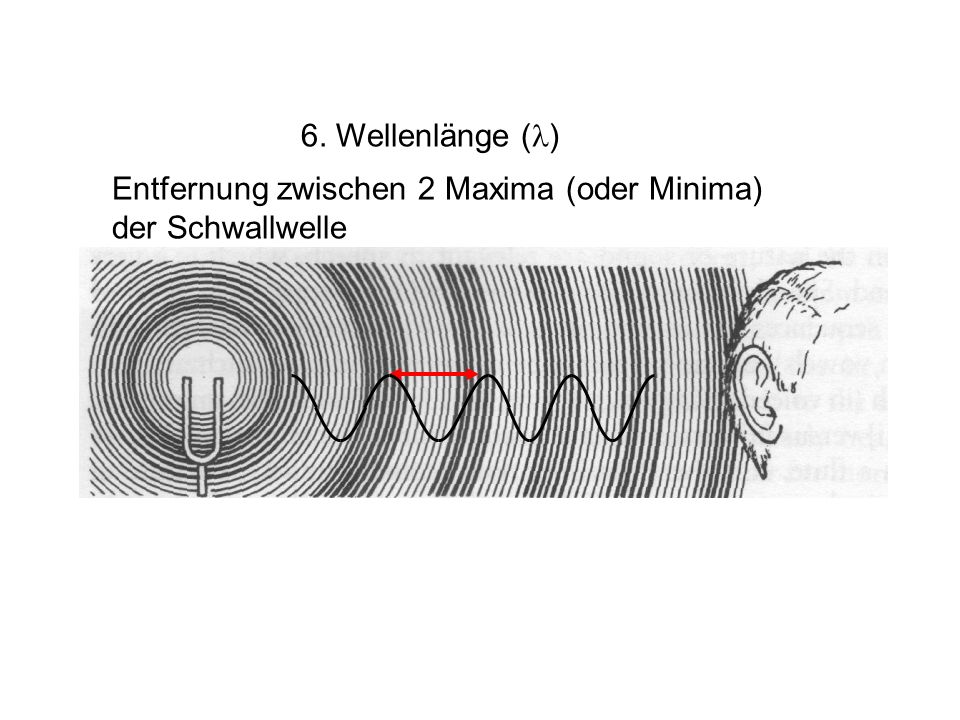 6. Wellenlänge (l) Entfernung zwischen 2 Maxima (oder Minima) der Schwallwelle