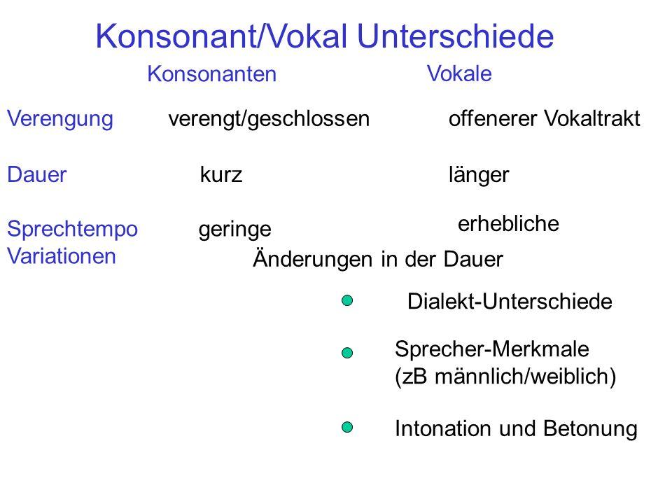 Konsonant/Vokal Unterschiede