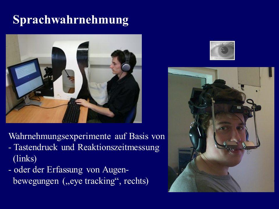 Sprachwahrnehmung Wahrnehmungsexperimente auf Basis von - Tastendruck und Reaktionszeitmessung. (links)