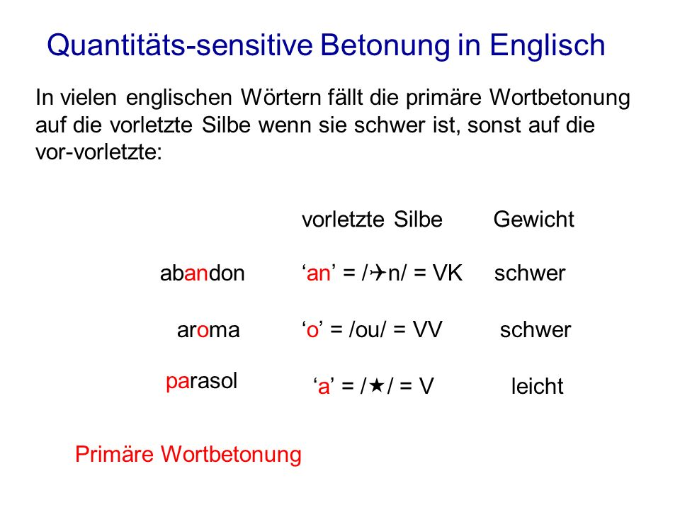 Quantitäts-sensitive Betonung in Englisch