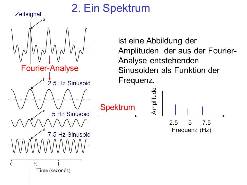 2. Ein Spektrum Zeitsignal. ist eine Abbildung der Amplituden der aus der Fourier-Analyse entstehenden Sinusoiden als Funktion der Frequenz.