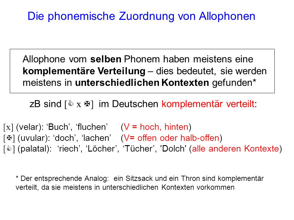 Die phonemische Zuordnung von Allophonen