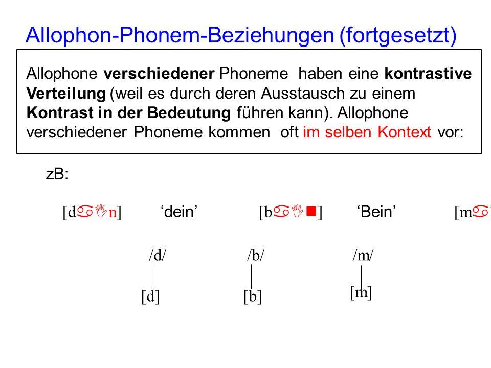 Allophon-Phonem-Beziehungen (fortgesetzt)