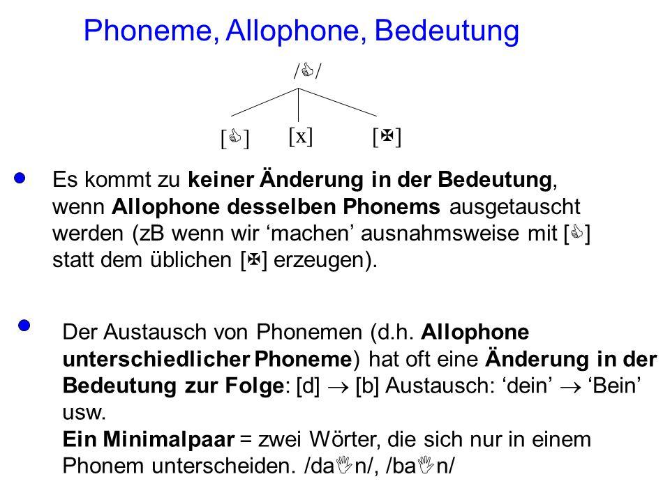 Phoneme, Allophone, Bedeutung