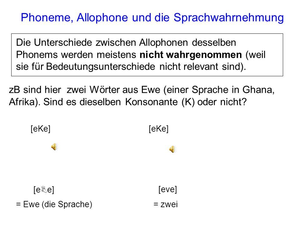 Phoneme, Allophone und die Sprachwahrnehmung