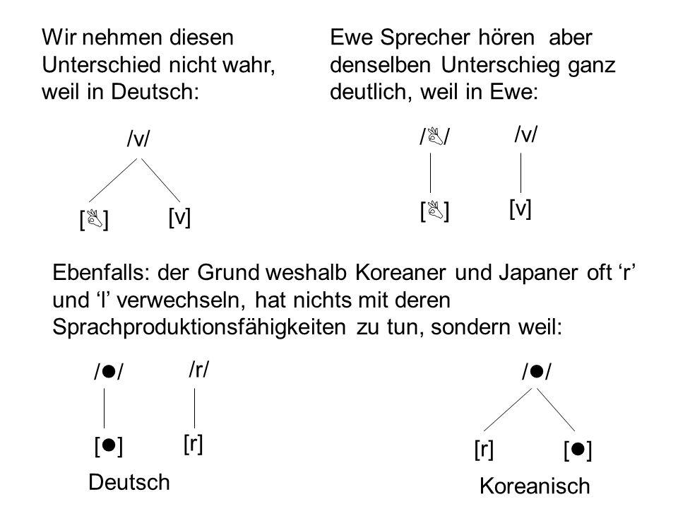Wir nehmen diesen Unterschied nicht wahr, weil in Deutsch:
