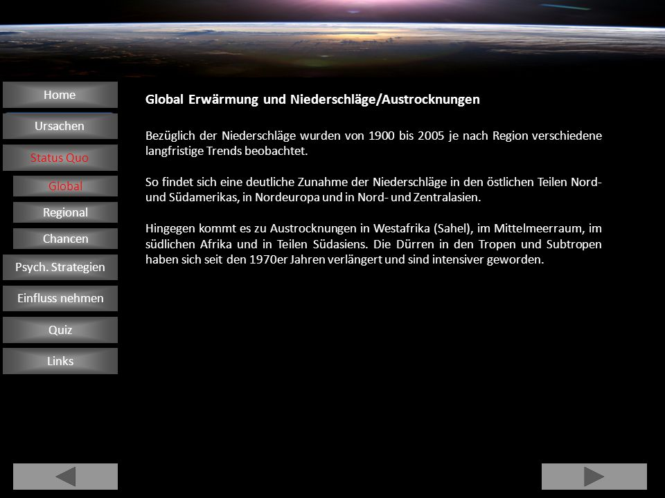 Global Erwärmung und Niederschläge/Austrocknungen Home