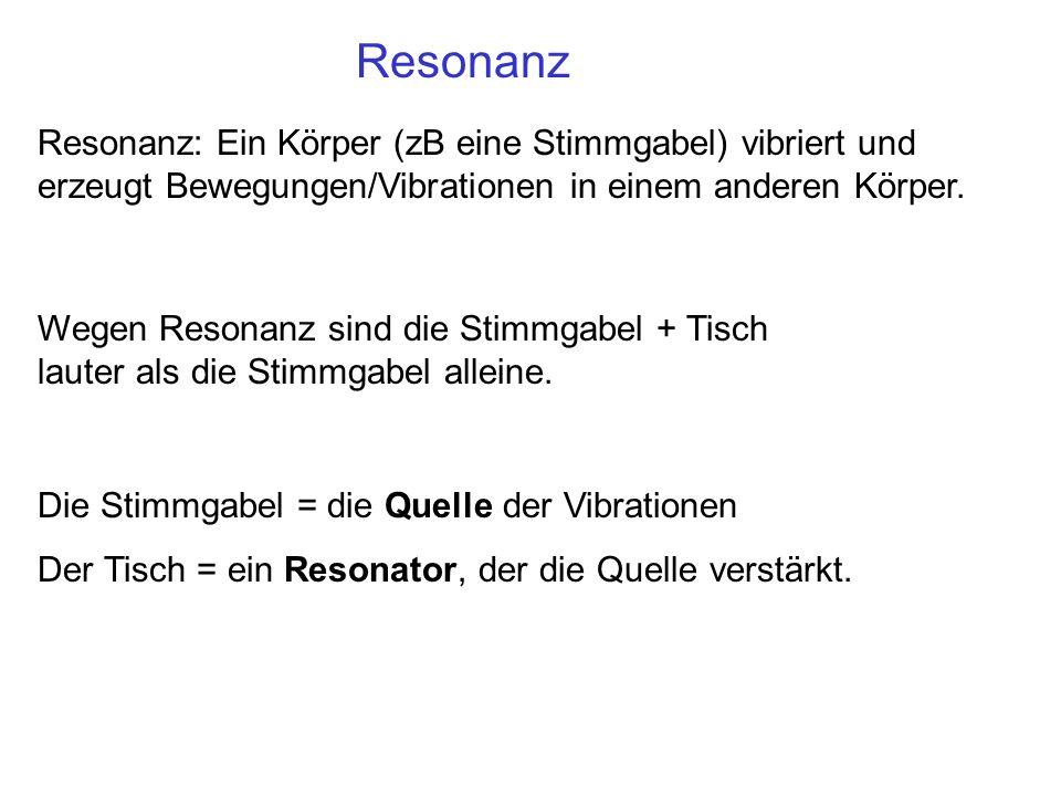 Resonanz Resonanz: Ein Körper (zB eine Stimmgabel) vibriert und erzeugt Bewegungen/Vibrationen in einem anderen Körper.