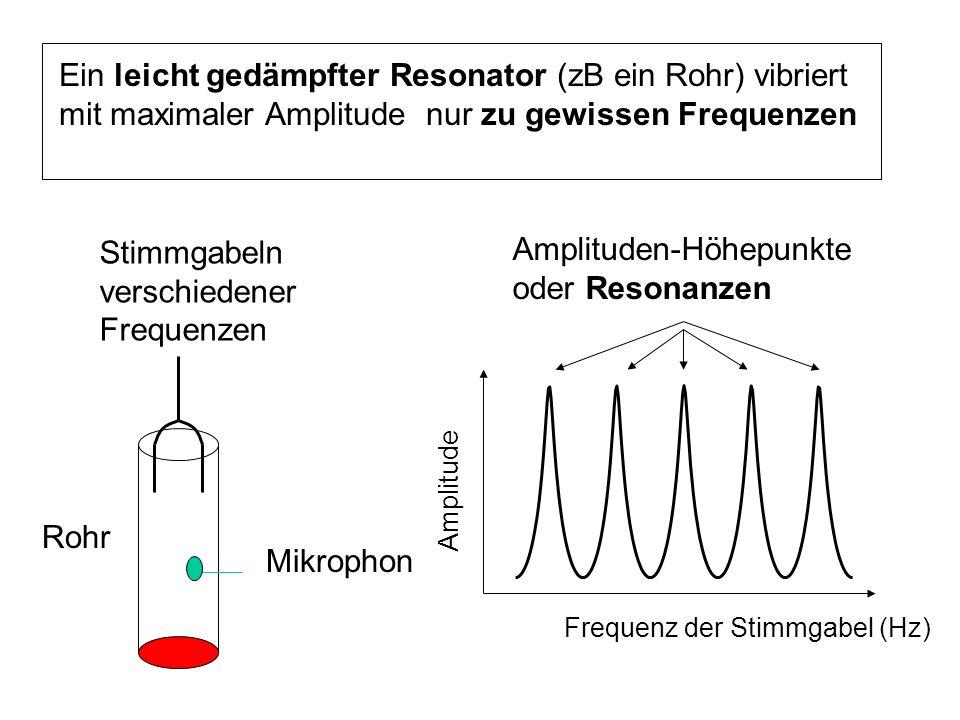 Amplituden-Höhepunkte oder Resonanzen