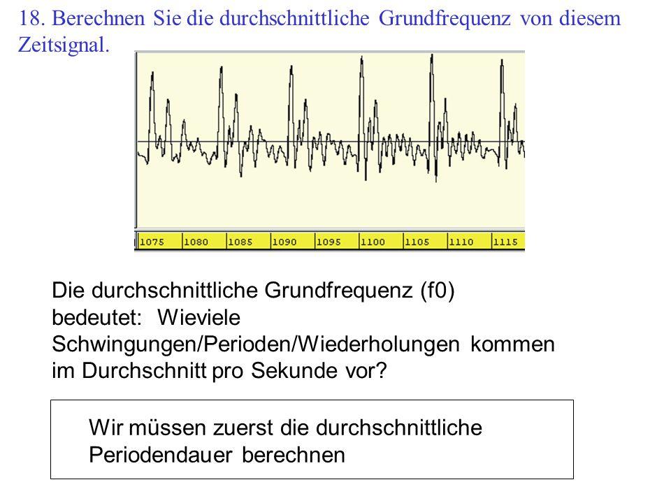18. Berechnen Sie die durchschnittliche Grundfrequenz von diesem Zeitsignal.
