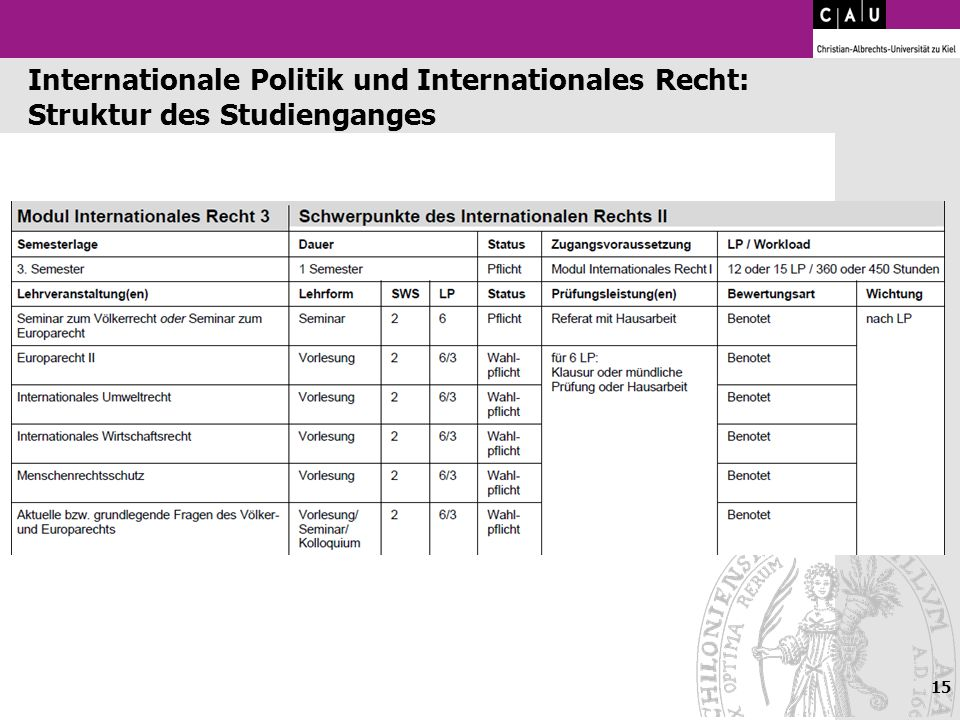 Internationale Politik und Internationales Recht: Struktur des Studienganges