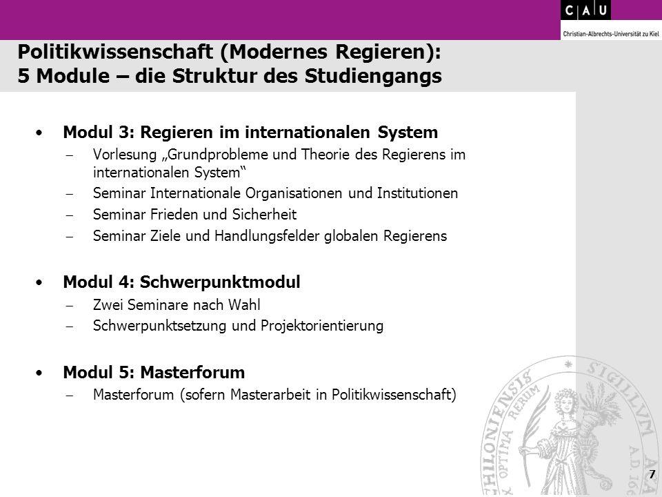 Politikwissenschaft (Modernes Regieren): 5 Module – die Struktur des Studiengangs