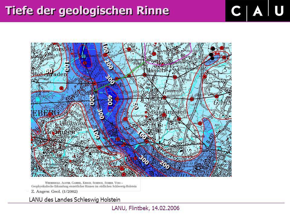 Tiefe der geologischen Rinne
