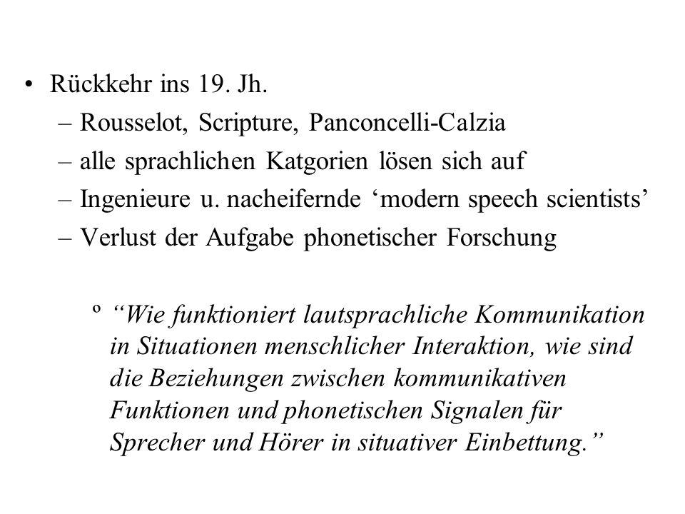 Rückkehr ins 19. Jh. Rousselot, Scripture, Panconcelli-Calzia. alle sprachlichen Katgorien lösen sich auf.