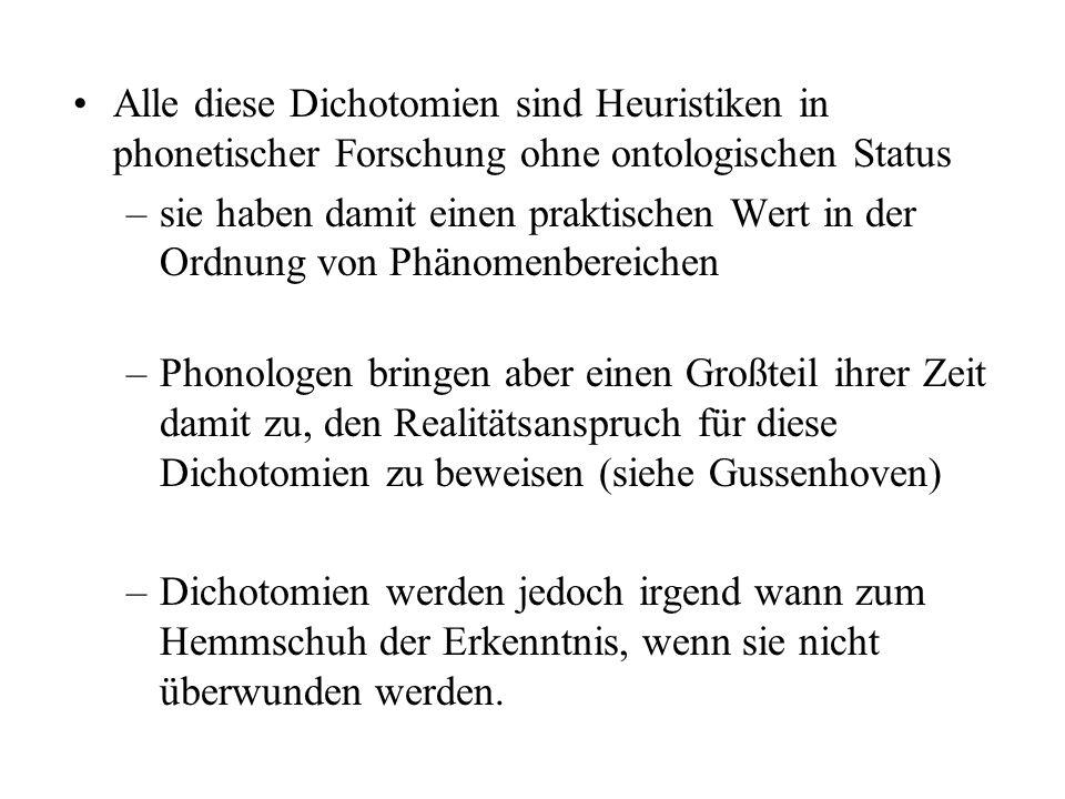 Alle diese Dichotomien sind Heuristiken in phonetischer Forschung ohne ontologischen Status