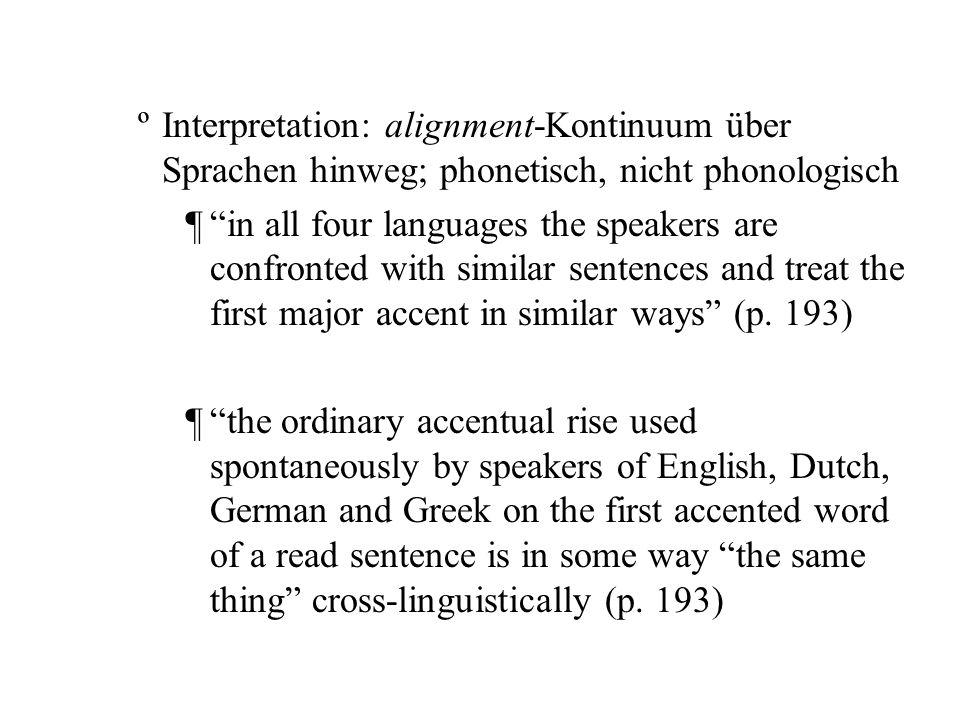 Interpretation: alignment-Kontinuum über Sprachen hinweg; phonetisch, nicht phonologisch