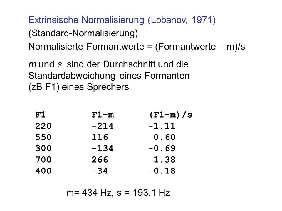 Extrinsische Normalisierung (Lobanov, 1971)