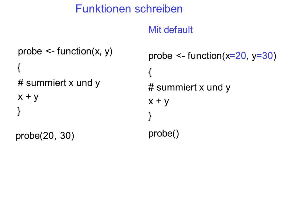 Funktionen schreiben Mit default probe <- function(x, y)