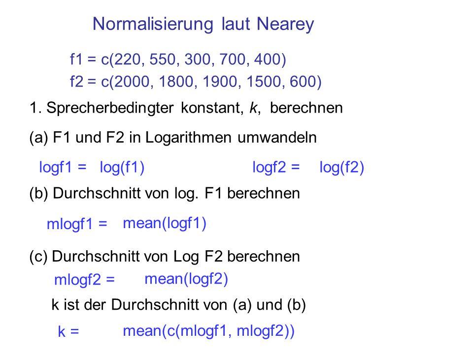 Normalisierung laut Nearey