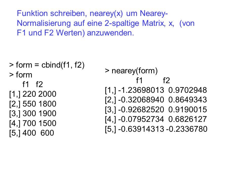 Funktion schreiben, nearey(x) um Nearey-Normalisierung auf eine 2-spaltige Matrix, x, (von F1 und F2 Werten) anzuwenden.