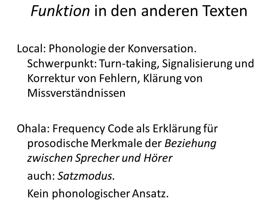 Funktion in den anderen Texten