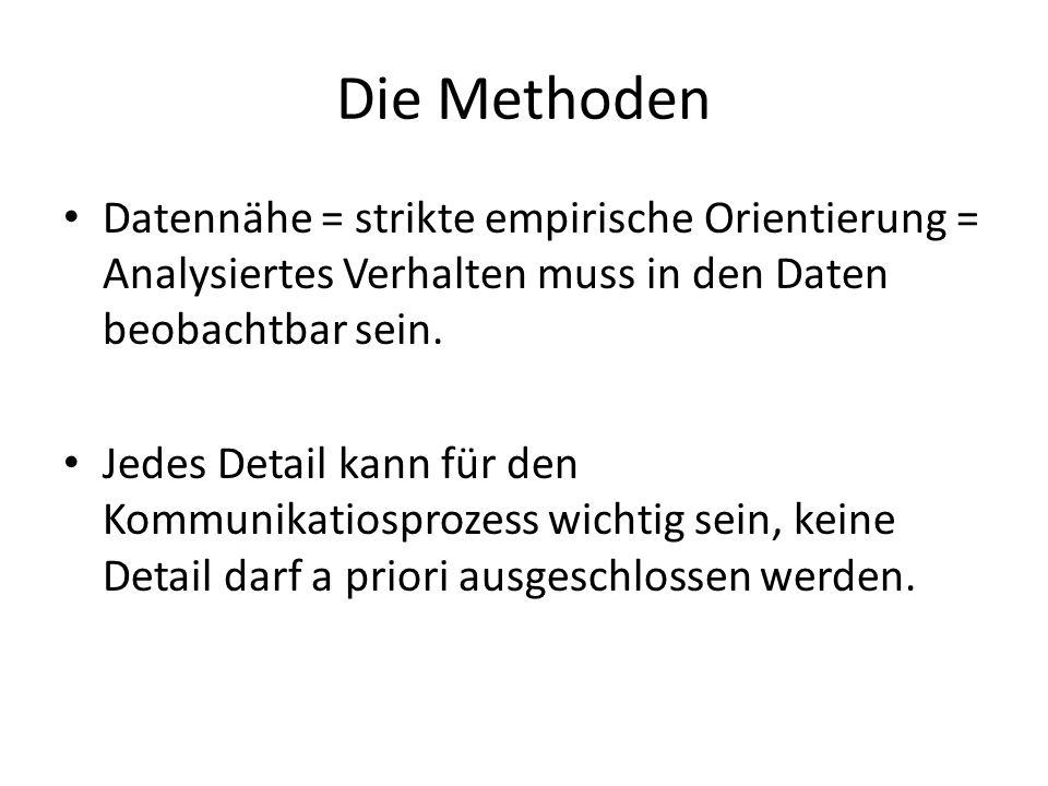 Die Methoden Datennähe = strikte empirische Orientierung = Analysiertes Verhalten muss in den Daten beobachtbar sein.