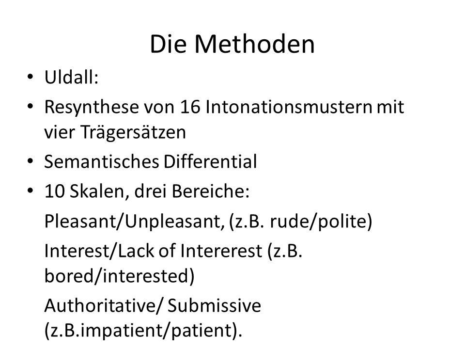 Die Methoden Uldall: Resynthese von 16 Intonationsmustern mit vier Trägersätzen. Semantisches Differential.