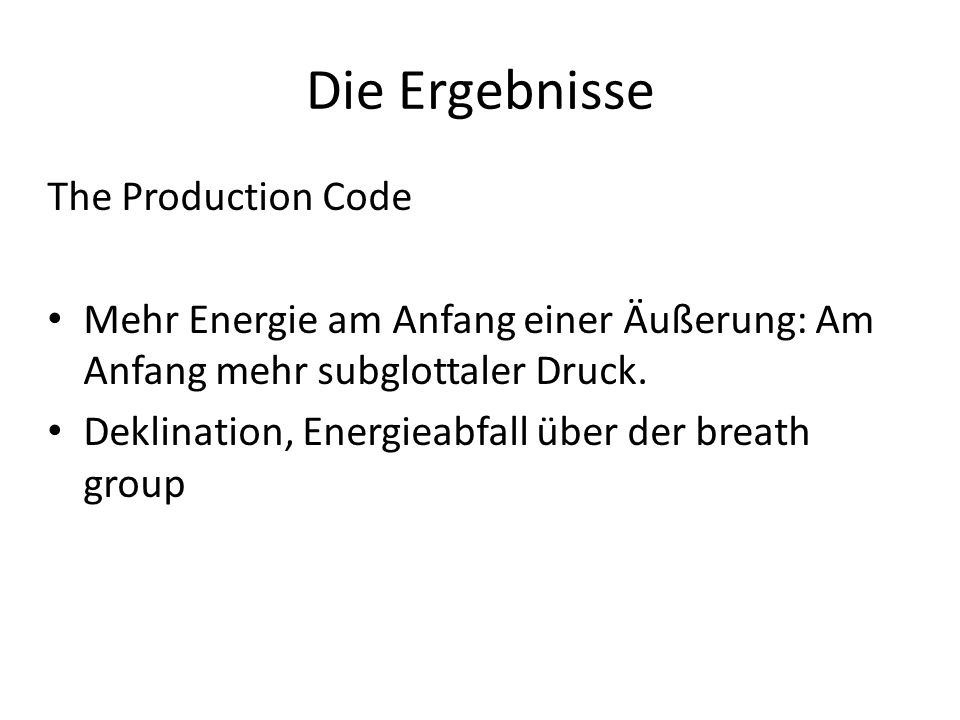 Die Ergebnisse The Production Code