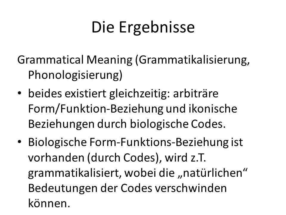 Die Ergebnisse Grammatical Meaning (Grammatikalisierung, Phonologisierung)