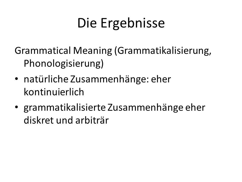 Die Ergebnisse Grammatical Meaning (Grammatikalisierung, Phonologisierung) natürliche Zusammenhänge: eher kontinuierlich.