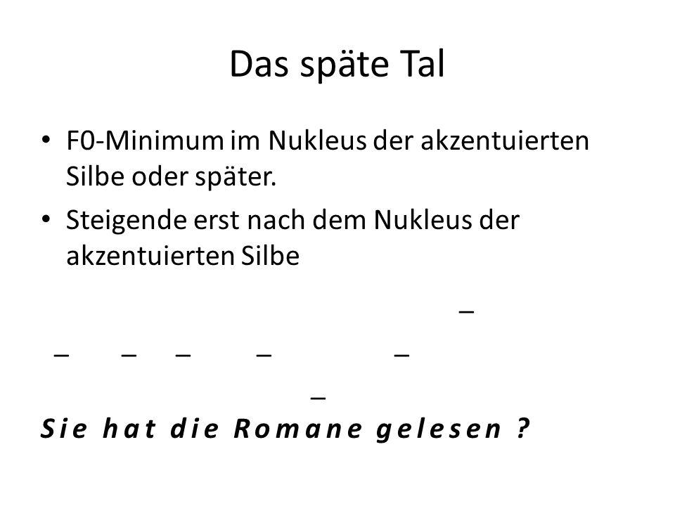 Das späte TalF0-Minimum im Nukleus der akzentuierten Silbe oder später. Steigende erst nach dem Nukleus der akzentuierten Silbe.
