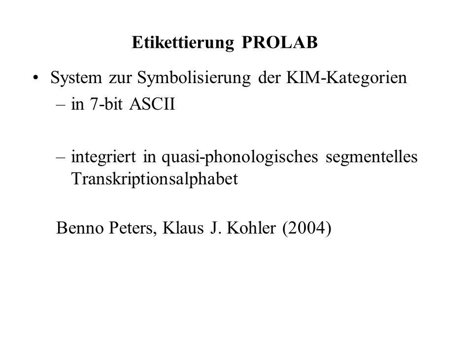 Etikettierung PROLAB System zur Symbolisierung der KIM-Kategorien. in 7-bit ASCII.