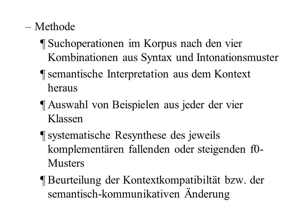 Methode Suchoperationen im Korpus nach den vier Kombinationen aus Syntax und Intonationsmuster. semantische Interpretation aus dem Kontext heraus.