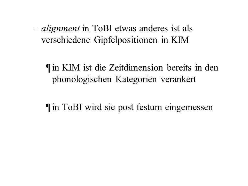 alignment in ToBI etwas anderes ist als verschiedene Gipfelpositionen in KIM