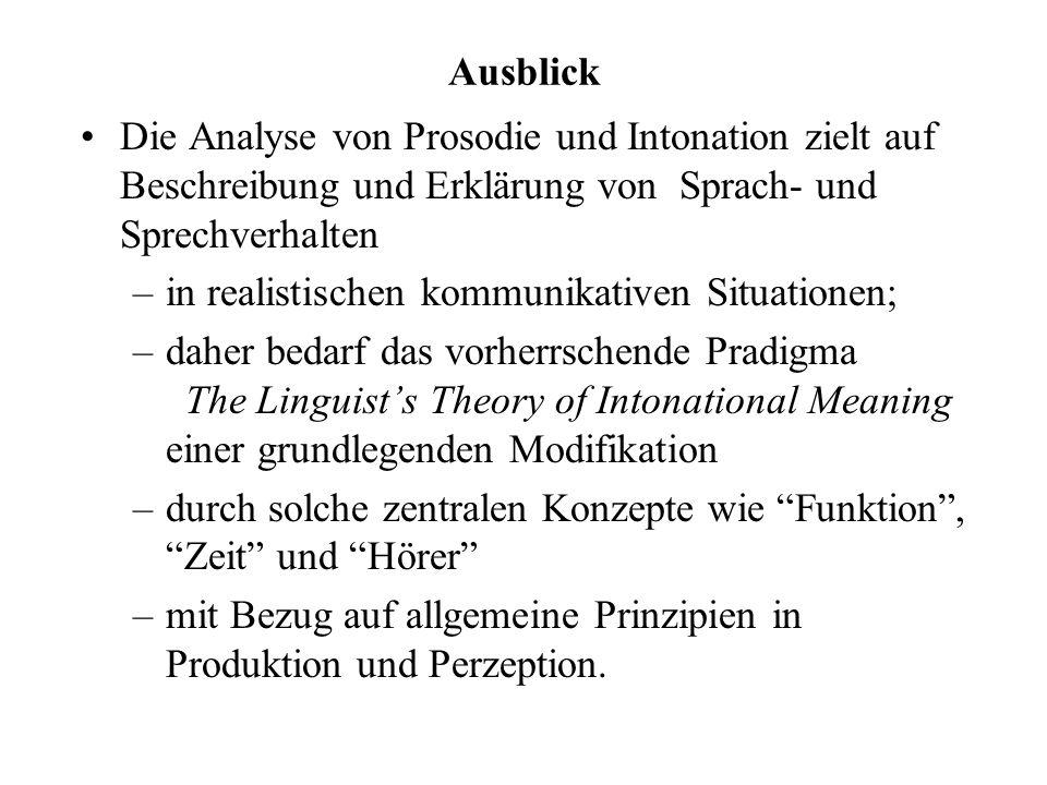 Ausblick Die Analyse von Prosodie und Intonation zielt auf Beschreibung und Erklärung von Sprach- und Sprechverhalten.