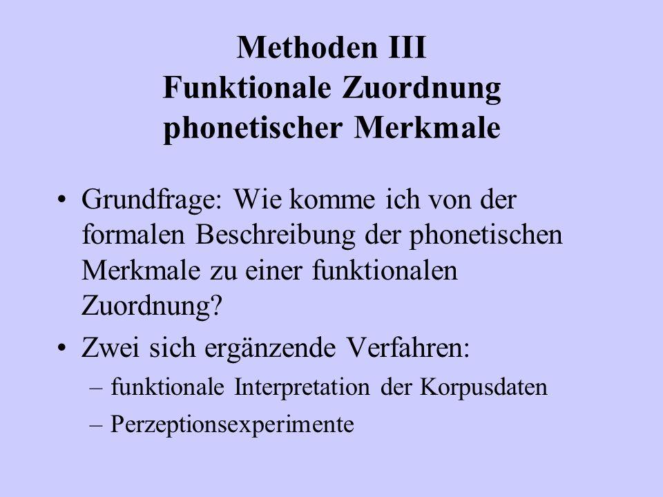 Methoden III Funktionale Zuordnung phonetischer Merkmale