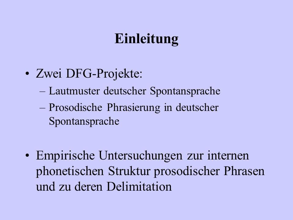 Einleitung Zwei DFG-Projekte: