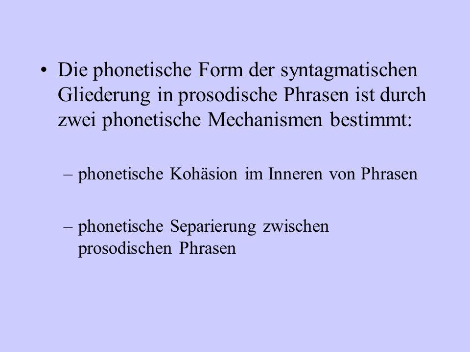 Die phonetische Form der syntagmatischen Gliederung in prosodische Phrasen ist durch zwei phonetische Mechanismen bestimmt: