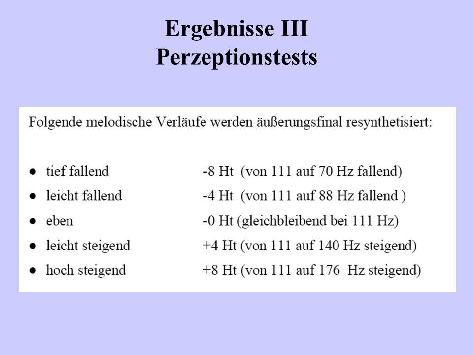 Ergebnisse III Perzeptionstests