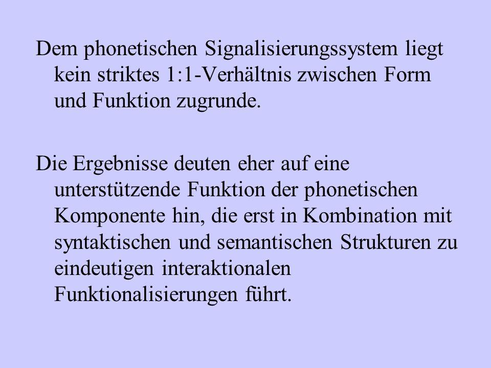 Dem phonetischen Signalisierungssystem liegt kein striktes 1:1-Verhältnis zwischen Form und Funktion zugrunde.