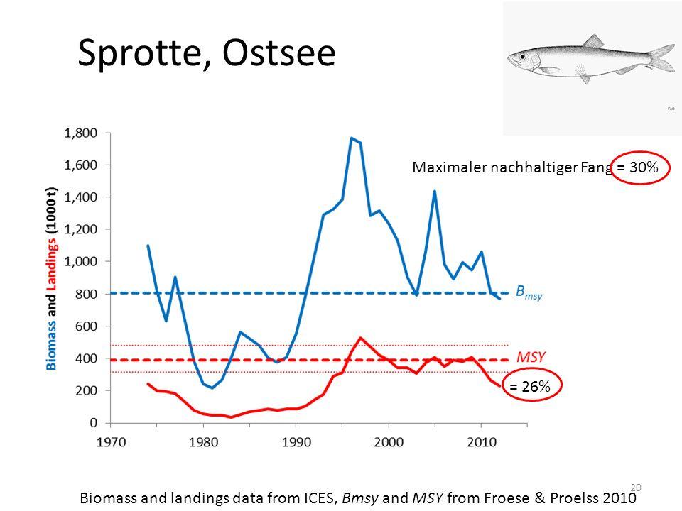 Sprotte, Ostsee Maximaler nachhaltiger Fang = 30% = 26%