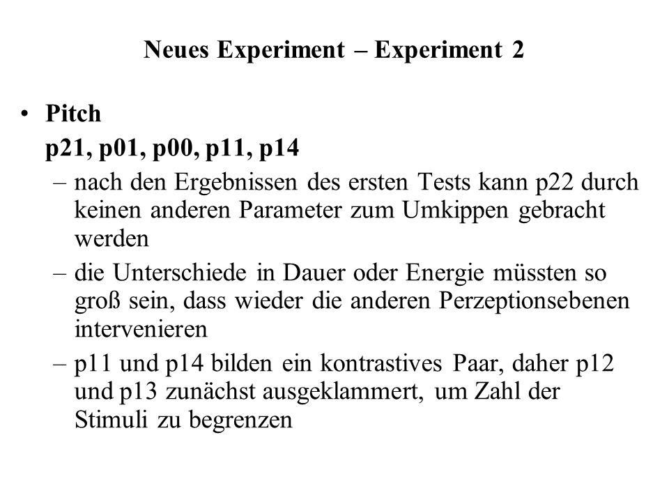 Neues Experiment – Experiment 2