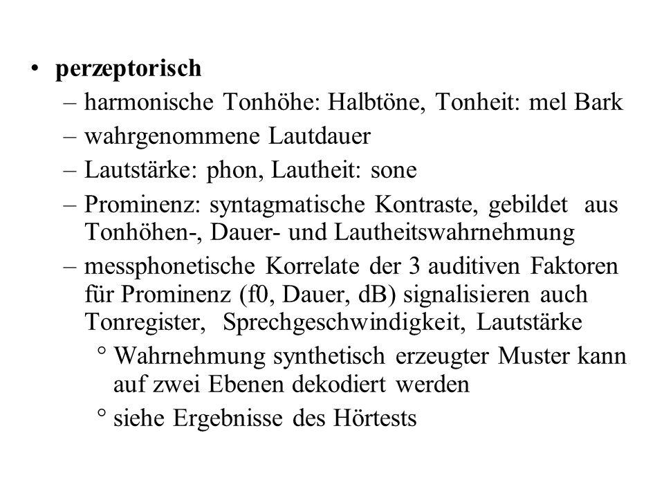 perzeptorisch harmonische Tonhöhe: Halbtöne, Tonheit: mel Bark. wahrgenommene Lautdauer. Lautstärke: phon, Lautheit: sone.