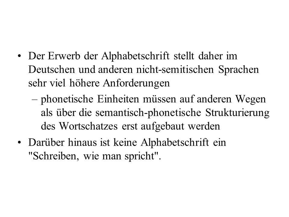 Der Erwerb der Alphabetschrift stellt daher im Deutschen und anderen nicht-semitischen Sprachen sehr viel höhere Anforderungen