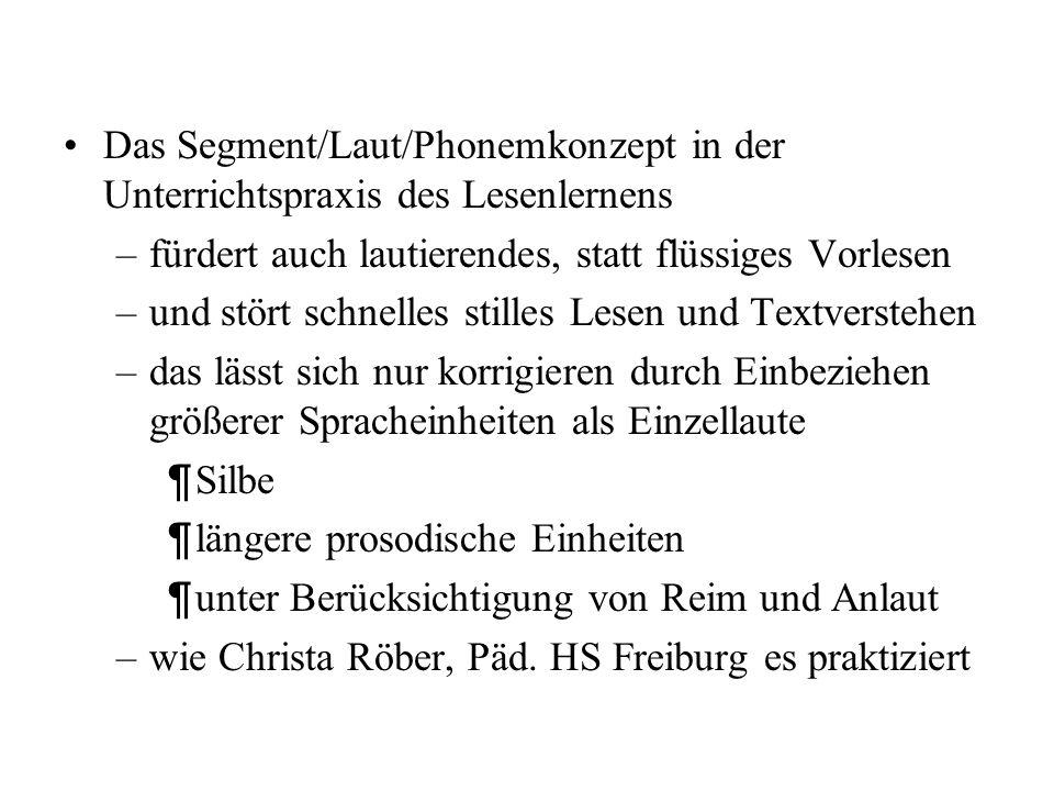 Das Segment/Laut/Phonemkonzept in der Unterrichtspraxis des Lesenlernens