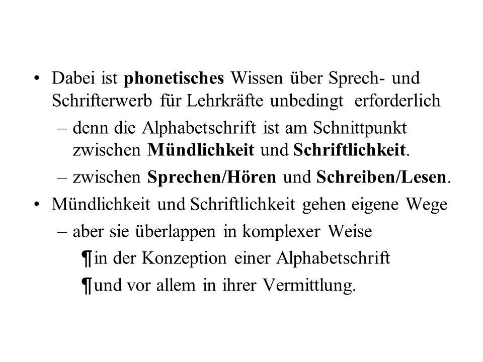 Dabei ist phonetisches Wissen über Sprech- und Schrifterwerb für Lehrkräfte unbedingt erforderlich