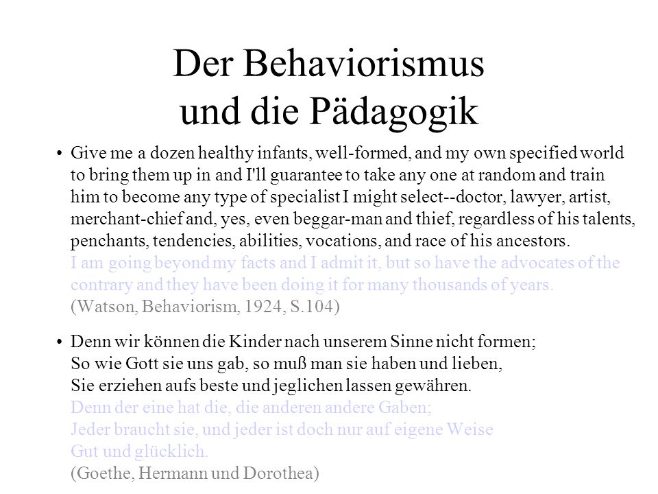 Der Behaviorismus und die Pädagogik