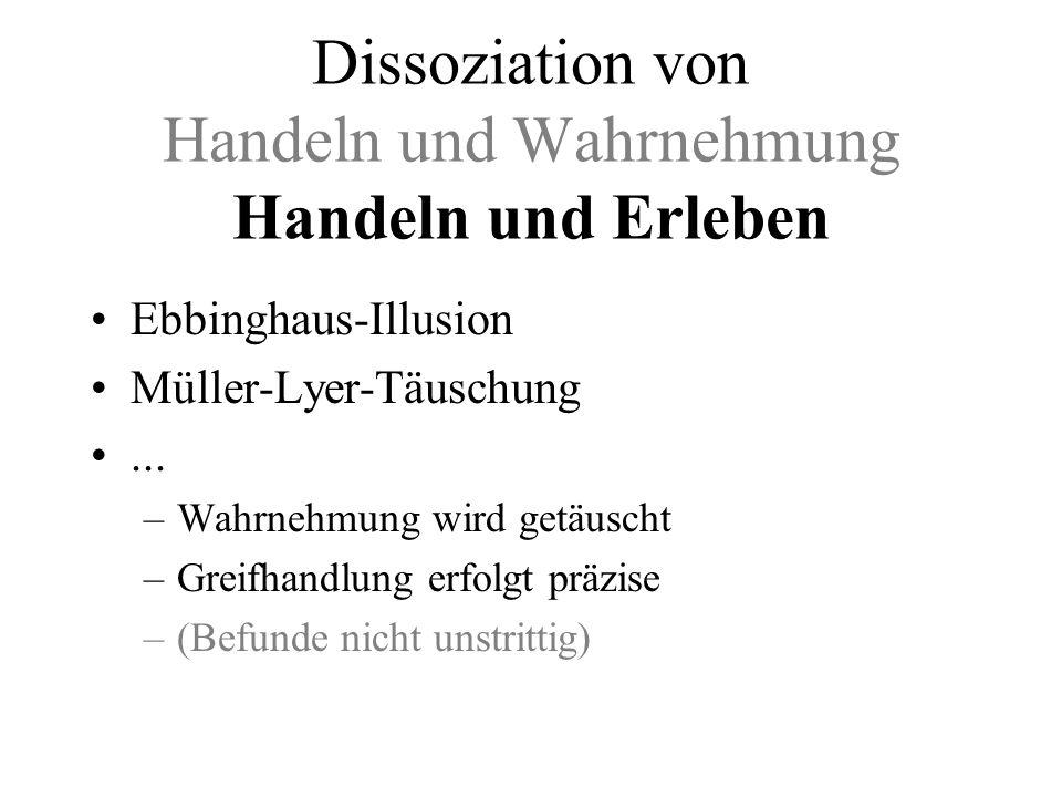 Dissoziation von Handeln und Wahrnehmung Handeln und Erleben